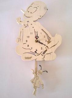 Orologio a pendolo di Pinocchio in legno di MacchiavelliArtLegno