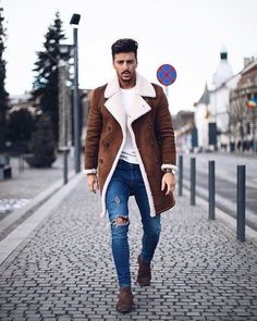 60 best ways to style a shearling jacket. Suede shearling peacoat ea6b6f155b03