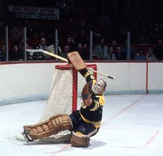 Bruins goalie Gerry Cheevers keeps his eyes on the puck in a game against the Montreal Canadiens in the late 1970s