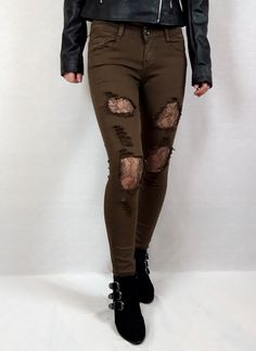 Brown, mesh detail jeans. #mesh #jeans #brown #glitter #pattern #fashioninspiration #clothing  #fashioninspo #clothes Festival Outfits, Festival Fashion, Natural Stone Jewelry, Colour Board, Online Fashion Stores, Black Heart, Jacket Dress, Pink Black, Knitwear
