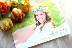 Peach and green graduation announcement from Minted. www.yourstrulyjenn.com