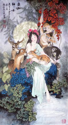 (China) Goddess Yaoji, who died young and became the Wushan mountain goddess, or mountain ghost, 1986 by Hua Sanchuan Art Chinois, Chinese Mythology, Art Asiatique, Art Japonais, China Art, Chinese Painting, Japanese Art, Art Inspo, Art History
