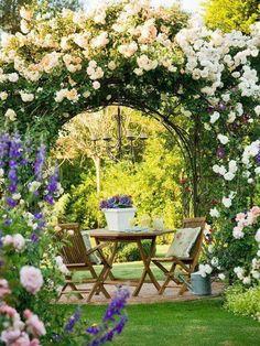dreamy garden design, garden ideas, backyards. garden space, romantic garden with climbing roses, european garden