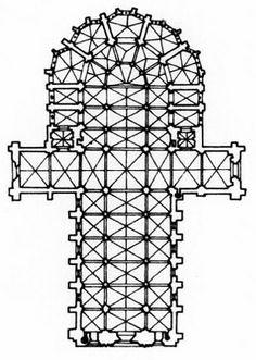 """Catedral de Burgos, siglo XIII. Planta del proyecto original de la catedral en el siglo XIII, donde intervino el """"maestro Enrique"""", de origen galo, también constructor de la catedral de León."""