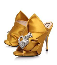 No21 N°21 Designer Shoes, Cerulean Satin & Leather Slip-on Sneaker