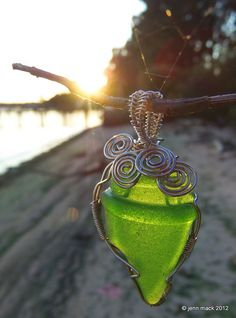 Green Seaglass Wire Wrapped Pendant by jennmackoriginals on Etsy, $25.00