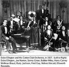 """Duke Ellington & his orchestra began a four-year residency at Harlem's famous Cotton Club (December 4, 1927). A succession of popular radio broadcasts from the Cotton Club brought him national fame & his name became known around the globe after the successes of """"Mood Indigo"""" (1930) and """"It Don't Mean a Thing (If it Ain't Got that Swing)"""" (1932). In 1933 he took his band on their first tour of Europe. By this time singer Cab Calloway had succeeded Mr Ellington at the Cotton Club."""
