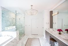 Robert Abbey Bling Chandelier in modern bathroom