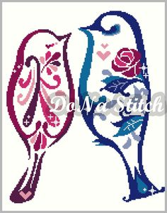 Love Birds Series-Rose Birds-11X14Cross Stitch by DoNaStitch