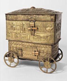 Forowa (lidded box). Elaborate sheet-brass box on wheels rich in symbolic content. before 1900 Ghana.