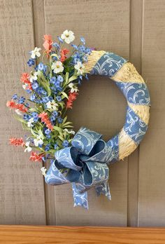 Front Door Decor, Porch Wall Decor, Summer Wreaths for Front Door, Outdoor Wreath, Spring Door Wreath, Blue and Coral Decor, Straw Wreath by ElegantFlorals20 on Etsy