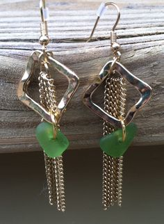 Hanging Gold Diamond & Chain with Small Lt. Green Sea Glass