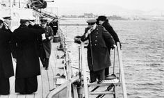 Commanding presence: Churchill leaving HMS Ajax to attend a conference ashore. Athens can be seen in the background. Battle Of Athens, Greece Today, Invasion Of Poland, Greek Warrior, Military Photos, Winston Churchill, Second World, Guerrilla, Royal Navy