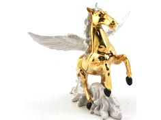 """Pegasus White Enameled interior Approx 4.5"""" X 5"""" Crystal accents. Hinged and magnetic closure"""