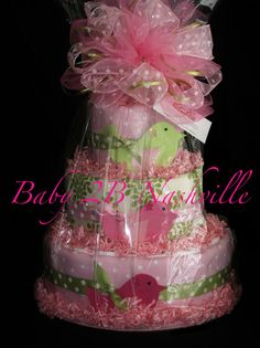 Girls Diaper Cake in Little Birds Pink and Green Baby Shower Centerpiece Gift $85 @ http://www.etsy.com/listing/81560975/girls-diaper-cake-in-little-birds-pink?ref=sr_gallery_6_search_query=baby+shower+for+girl_view_type=gallery_ship_to=US_page=11_search_type=handmade_facet=handmade