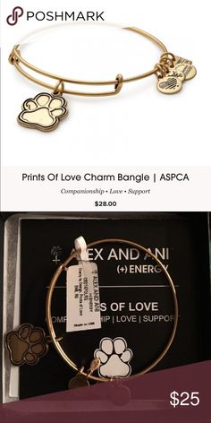"""NWT Alex and Ani Bracelet NWT Alex and Ani Gold ASPCA Paw Print Charm Bracelet. Represents companionship, love, and support. Expandable from 2"""" to 3.5"""". Charm Dimension: 0.85 x 0.75"""". Crafted in  RAFAELIAN GOLD Finish. Alex & Ani Jewelry Bracelets"""
