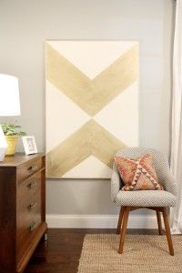 DIY paint Gold arrows on canvas. From www.HouseTweaking.com