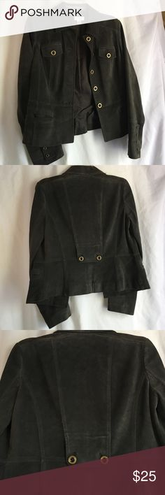 Ann Taylor 100% Leather Suede Jacket Dark Army Green beautiful 100% leather suede jacket with bronze buttons . EUC. Super soft but heavy (quality) suede jacket. Absolutely stunning size women's 6. Versatile, classic, neutral, staple piece! Ann Taylor Jackets & Coats