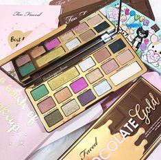 Too Faced released this delicious looking eyeshadow palette! so many colorful shades for tons of makeup look inspiration and designs! This palette is such beauty goals! Makeup On Fleek, Glam Makeup, Love Makeup, Makeup Art, Beauty Makeup, Makeup Looks, Makeup Ideas, Chocolate Palette, Chocolate Gold