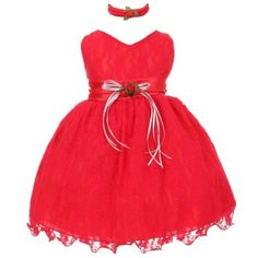 275c913c1 Baby Girls Red Lace Overlay Flower Sash Special Occasion Dress 6M
