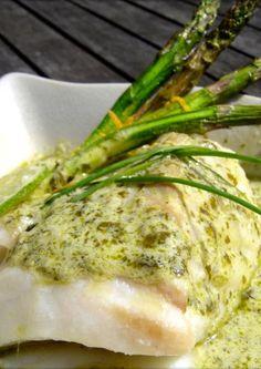 spigola con salsa di asparagi
