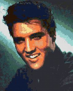 Cross stitch pattern Elvis Presley Portrait PDF - New EASY chart with one color per sheet And regular chart! Two charts in one! by HeritageCharts on Etsy