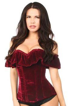 Top Drawer Premium Dark Red Velvet Off-The-Shoulder Steel Boned Corset Red Corset, Overbust Corset, Burlesque Corset, Corset Costumes, Burlesque Costumes, Dress Bra, Corset Dresses, Rave Wear, Top Drawer
