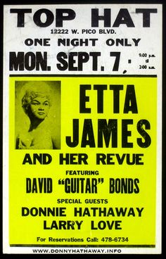 Classic Etta James Concert Poster — with Donnie Hathaway Larry Love Jazz Blues, Rhythm And Blues, Blues Music, Music Flyer, Concert Flyer, Concert Signs, Rock Posters, Band Posters, Vintage Concert Posters