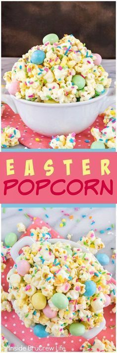 Easter Popcorn - this easy white chocolate covered popcorn is loaded with colorful sprinkles and candy. Great no bake snack mix recipe that is great for sharing at parties!