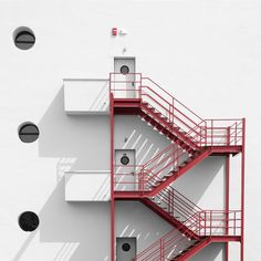 Fire stairs Minimalist Photography example
