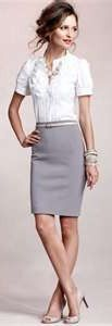 Outfit Posts: outfit post: white button down, grey pencil skirt, gold belt, pink chunky bead necklace