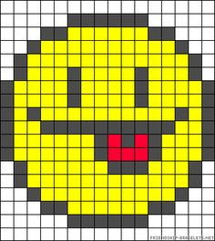 Smiley tongue perler bead pattern