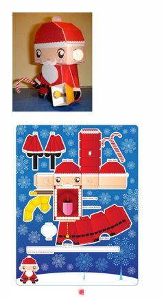 Diy Père Noël en carton #Noel #Christmas Christmas Knitting, Christmas Diy, Xmas, Arts And Crafts, Paper Crafts, Diy Crafts, Cute Kids Crafts, Christmas Printables, Projects To Try