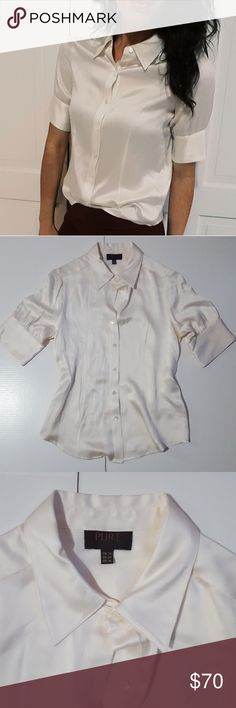 PURE Collection 100% silk white button up - C1 In good condition! Beautiful PURE Collection 100% silk top. Cream- white color. Extremely high quality and beautiful top! Size US 4. But fits a size 6 well (I'm a 6 modeling). 18.5 inches across chest, measured flat. No noticeable stains or snags that O can find on the item. Used item: inspected for quality and wear. Pictures show any signs of wear and use. Bundle up! Offers always welcome:) Pure Collection Tops