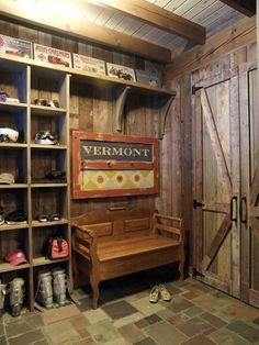 LOVE>>>rustic Mud room with beautiful barn like door