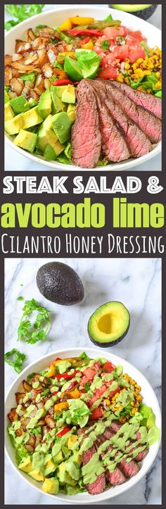 Avocado Steak Salad with Homemade Avocado Lime Cilantro Honey Dressing + how to pick the perfect avocado and remove the avocado pit without a knife! via @CourtneysSweets