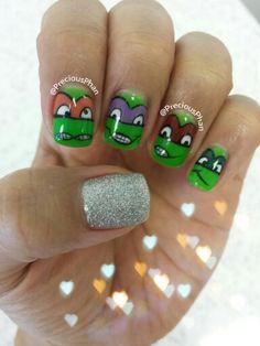 TMNT. Teenage Mutant Ninja Turtle nails.