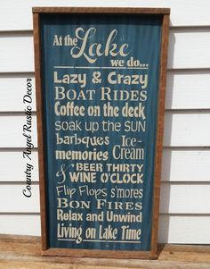 At the LAKE -we do.rustic typography/subway wood sign Lake Rules Sign Cottage Sign Cabin Decor Deck Sign Livin on Lake Time Lake House Signs, Cabin Signs, Cottage Signs, Lake Signs, House Rules, Lake Rules, Lake Decor, U Bahn, Lake Cabins
