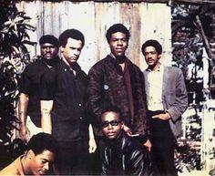 "Original six Black Panthers (November, 1966)Top left to right:Elbert ""Big Man"" Howard; Huey P. Newton (Defense Minister), Sherman Forte, Bobby Seale (Chairman).Bottom:Reggie Forte and Little Bobby Hutton (Treasurer)."