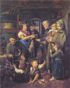 A traveling family of beggars is rewarded by poor peasants on Christmas Eve  - Ferdinand Georg Waldmüller, c.1834, 025/122.