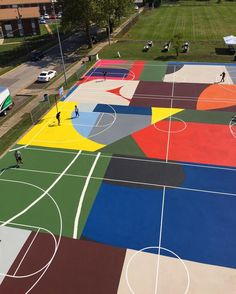 Kinloch Park basketball court mural St Louis collab with @project_backboard  projectbackboard.org…""