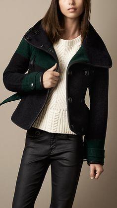 Leather Trim Striped Blanket Wrap Jacket | Burberry