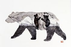 MAMA BEAR and CUBS Watercolor Print by Dean Crouser by DeanCrouserArt on Etsy Baby Bear Tattoo, Tattoo Mama, Tattoo For Son, Mom Tattoos, Ship Tattoos, Tatoos, Ankle Tattoos, Arrow Tattoos, Wolves Tattoo
