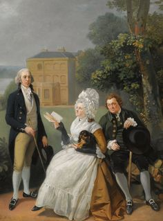 Circle of Johann Zoffany, R. Portrait Of The Sayer Family With a View Of Bridge House, Richmond And The Shakespeare Temple Beyond Portrait Images, Portrait Art, Hanoverian Kings, 18th Century Fashion, Entourage, Spaniels, Cool Paintings, Cavalier King Charles, British History
