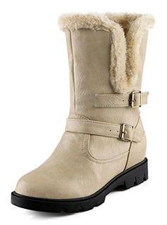 26d2b068e7a CHFSO Womens Fashion Waterproof Fully Fur Lined Mid Calf Heighten Mid Heel  Platform Warm Winter Boots