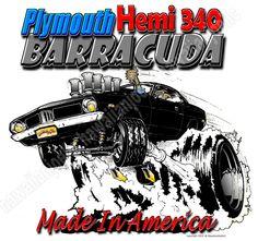 PLYMOUTH HEMI 340 BARRACUDA:DTG PRINTING MEN'S COTTON WHITE T-SHIRTS: ALL SIZES #Gildan #BasicTee