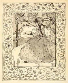 1911 Print Song Art Nouveau Decoration Filigree Woman Portrait Ethel Larcombe | eBay