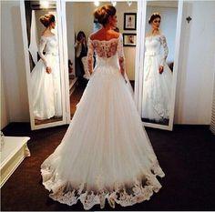 Luxus Langarm Spitze Brautkleider Lange  Hochzeitkleider 2015 Neu Reales Bild