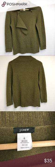 "J. Crew Green Cashmere and Wool Blend Sweater M J. Crew Green Cashmere and Wool Blend Sweater M. In excellent used condition. Chest is 18.5"". Sleeve length is 22.75"". Total length is 24.5"". J. Crew Tops Blouses"