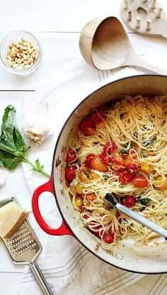 Cherry Tomato Angel Hair Pasta (with bell peppers, white wine, basil, rosemary, pine nuts & Parmesan)